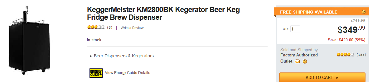 KeggerMeister KM2800BK For $349 Shipped