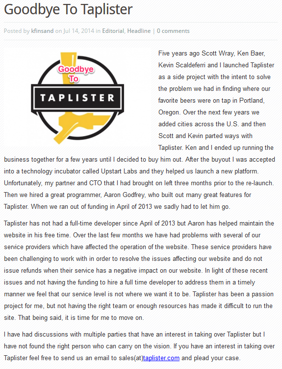 Taplister Is Closing